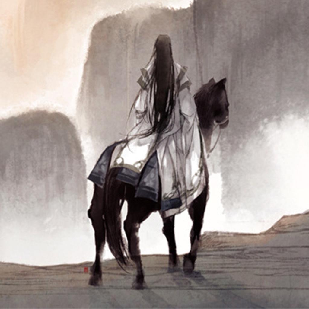 手绘古风侠女  骑马